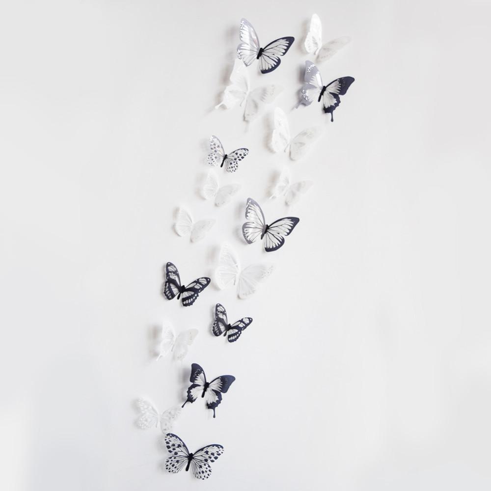 18 Fluturi Crystal 3d Decorativi